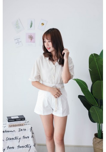 Korea V Collar Button Short Sleeve Blouse (Beige)
