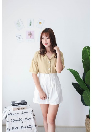 Korea V Collar Button Short Sleeve Blouse (Mustard)
