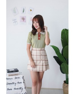 Korea Polo Tee Style Knit Top (Green)