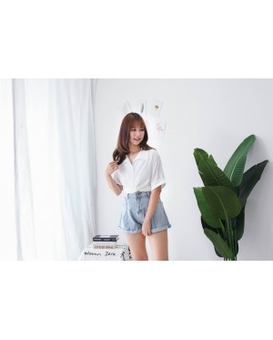 Korea Cross Waist Tie Short Sleeve Blouse (White)