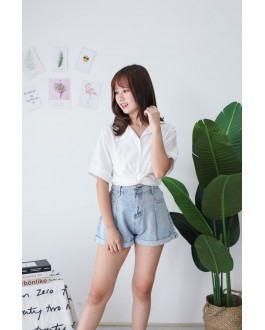Korea Cross Waist Tie Short Sleeve Blouse (White) - BACKORDER ETA 21 SEP