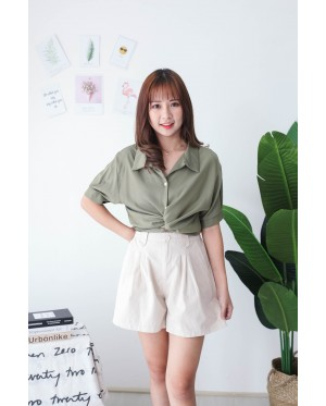 Korea Cross Waist Tie Short Sleeve Blouse (Green)