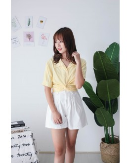 Korea Cross Waist Tie Short Sleeve Blouse (Yellow)