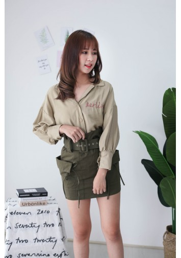 Korea Darling Long Sleeve Blouse (Light Green)