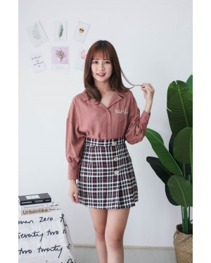 Korea Darling Long Sleeve Blouse (Brown)