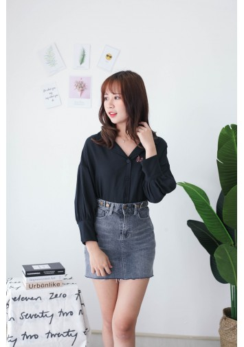 Korea Darling Long Sleeve Blouse (Black)