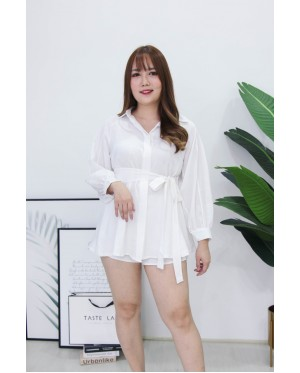 Korea Long Sleeve Blouse + Rubber Short Pant [Set] (White)