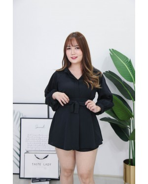 Korea Long Sleeve Blouse + Rubber Short Pant [Set] (Black) - BATCH 3 BACKORDER ETA 26 SEPT