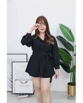 Korea Long Sleeve Blouse + Rubber Short Pant [Set] (Black)