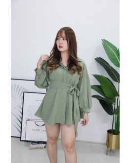 Korea Long Sleeve Blouse + Rubber Short Pant [Set] (Green) - BACKORDER ETA 20 SEPT
