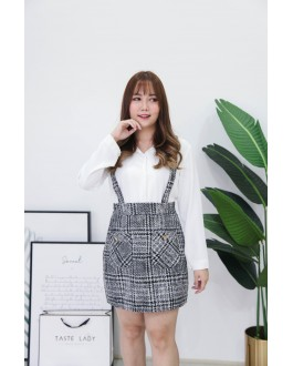 Korea Chanel Style High Waist Strap Skirt (Black) - BACKORDER ETA 27 SEP