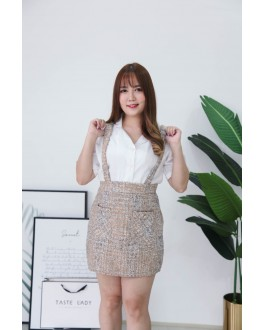 Korea Chanel Style High Waist Strap Skirt (Brown)