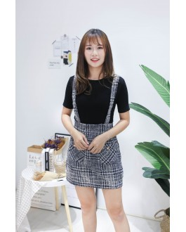 Korea Chanel Style High Waist Strap Skirt (Navy Blue)