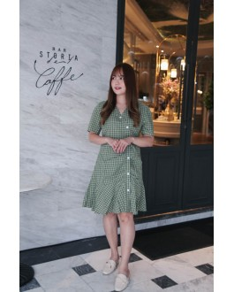 Korea Checks V Neck Button Mermaid Dress (Green)