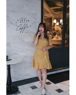 Korea Checks V Neck Button Mermaid Dress (Yellow)