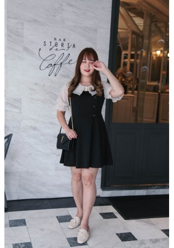 Korea Button Front  Mess Trim Short Sleeve Dress (Black)