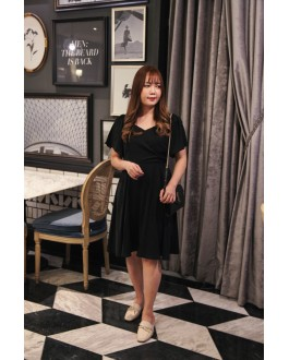Korea Vintage Basic V Neck Short Sleeve Dress (Black)