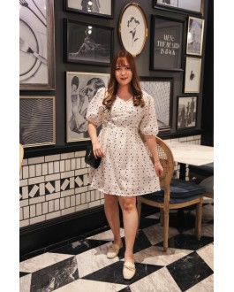 Korea Polka Dot Chiffon Short Sleeve Dress (Creamy White)