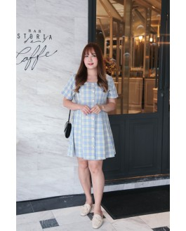 Korea Checks Square Neck Button Front & Back With Ribbon Short Sleeve Dress (Blue)