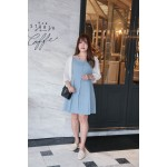 Korea Button Front V Neck Chiffon Elbow Length Sleeve Dress (Blue) - BACKORDER ETA 3 JAN