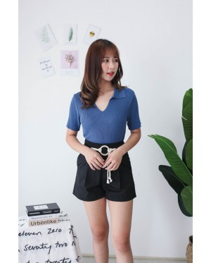 Korea Basic V Neck Collar Short Sleeve Top (Blue)