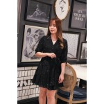 Korea Bling Star V Neck Chiffon Self Tie Dress (Black/Pink)