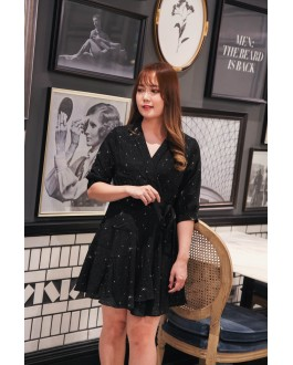 Korea Bling Star V Neck Chiffon Self Tie Dress (Black/Pink) - BACKORDER ETA 23 OCT