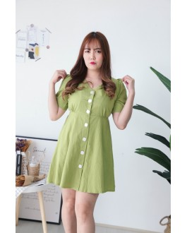 Korea V Neck Button Front Elastic Back Short Sleeve Dress (Green)
