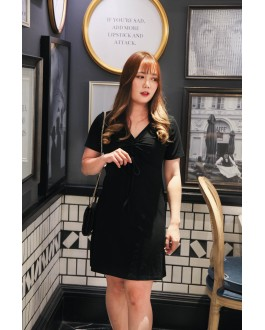 Korea V Neck Elastic Drawstring Short Sleeve Dress (Black)