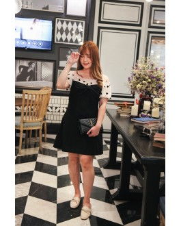 Korea Ribbon Bust Love Mess Trim Off Elastic Shoulder Dress (Black)