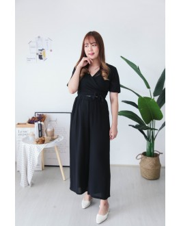 Korea Self Tie Top + Rubber Culottes [Set] (Black) - BATCH 3 BACKORDER ETA 21 OCT