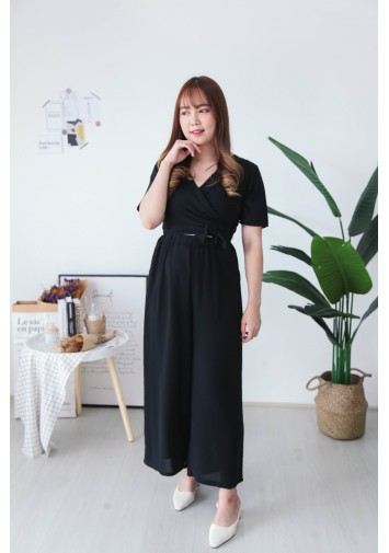 Korea Self Tie Top + Rubber Culottes [Set] (Black)