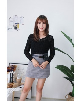 Korea Crochet Hollow V Neck Long Sleeve Short Knit Top (Black)