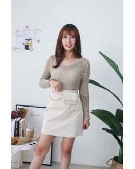 Korea Crochet Hollow V Neck Long Sleeve Short Knit Top (Khaki)