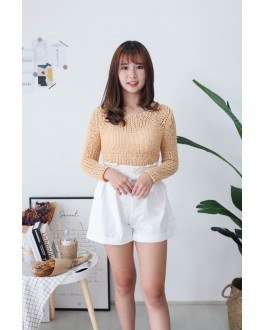 Korea Crochet Hollow V Neck Long Sleeve Short Knit Top (Yellow)