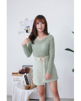 Korea Crochet Hollow V Neck Long Sleeve Short Knit Top (Green)