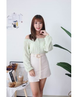 Korea Button Front Long Sleeve Top (Green)