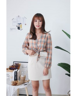 Korea Checks Button Front Ribbon Tie Long Sleeve Top (Orange) - BACKORDER ETA 28 NOV