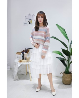 Korea Rainbow Stripe Long Sleeve Knit Top (Khaki) - BACKORDER ETA 30 NOV