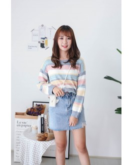 Korea Rainbow Stripe Long Sleeve Knit Top (Blue) - BACKORDER ETA 30 NOV