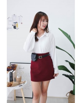 Korea V Neck Back With Button Long Sleeve Blouse (White)