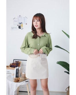 Korea V Neck Back With Button Long Sleeve Blouse (Green)