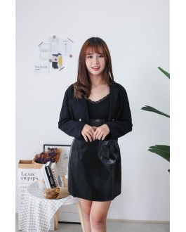 Korea V Neck Double Button Long Sleeve Coat (Black)
