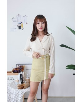 Korea V Neck Double Button Long Sleeve Coat (Beige)