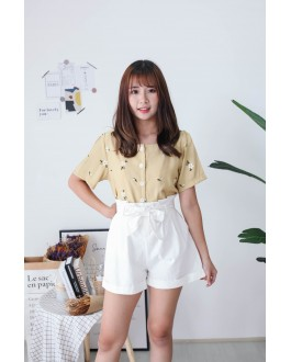 Korea Vintage Style Flower Button Front Top (Mustard)