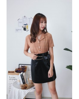Korea Checks Short Sleeve Blouse (Brown)