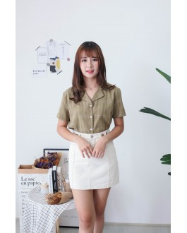 Korea Checks Short Sleeve Blouse (Green)
