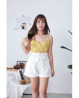 Korea Drawing Flora Adjustable Strap Sleeveless Top (Mustard)