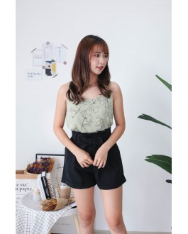 Korea Drawing Flora Adjustable Strap Sleeveless Top (Green)