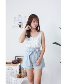 Korea Drawing Flora Adjustable Strap Sleeveless Top (White)